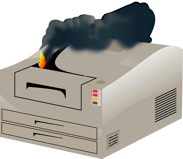 hořící tiskárna