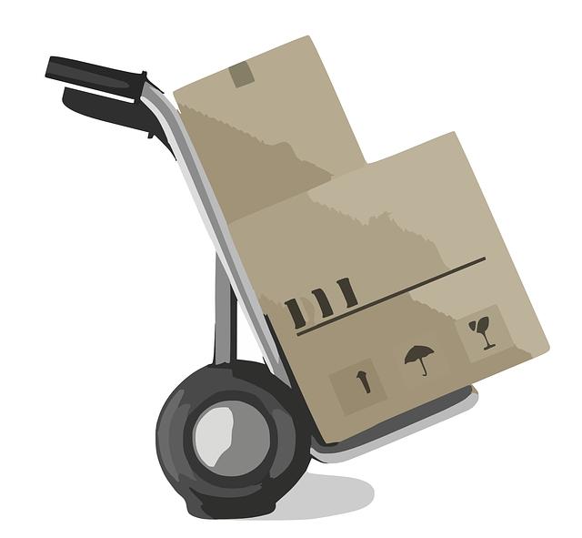 stěhovací vozík, krabice
